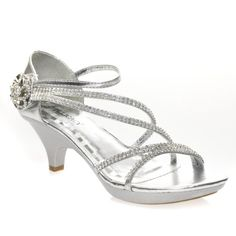 Delicacy Womens ANGEL48 Open Toe Rhinestones Med Low Heel Party Sandal, Silver PU Leather, 8 B (M) US
