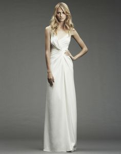 Nicole Miller Silk Crossover V-neck Wedding Dress - Nearly Newlywed Wedding Dress Shop