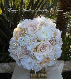 Ivory and Peach Brooch Bouquet Custom Bridal Brooch Bouquet