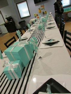 Breakfast at Tiffany's themed bridal brunch shower table setting and DIY center pieces