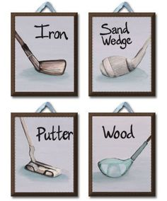 Vintage Golfer Set of 4 Giclee Canvas nursery art for kids room