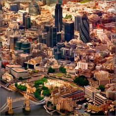 London Aerial View - love the contrast between ancient and modern buildings :)