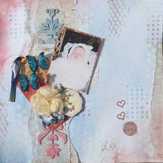 Love You -entry for Blue fern studios challenge #mixedmedia #scrapbooking