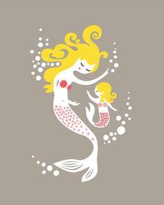 mermaid mother & daughter. 8X10 giclee print. gray by ThePaperNut