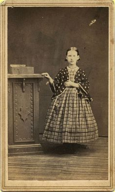1860s Civil War Era No ID CDV, Standing Girl Wearing Mismatched Dress & Shawl