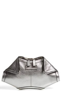 Free shipping and returns on Alexander McQueen 'De Manta - Small' Metallic Leather Clutch at Nordstrom.com. Grainy leather in a shimmering silvery hue showcases the De Manta clutch's angular lines to beautiful effect on this ultra-versatile, compact version of the iconic bag.