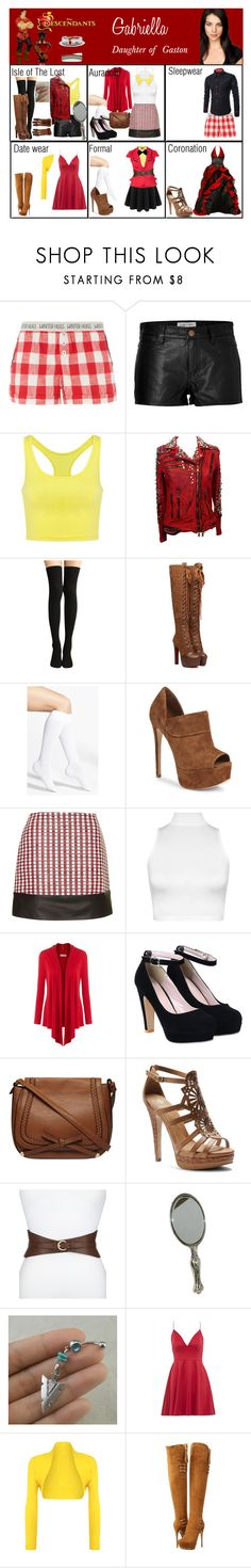"""""""Gabriella. Daughter of Gaston"""" by elmoakepoke ❤ liked on Polyvore featuring Kane, Current/Elliott, Balmain, Nordstrom, Schutz, Unique, WearAll, Dorothy Perkins, Isolá and Neiman Marcus"""