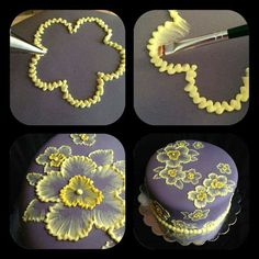 brush embroidery cake with yellow flowers Brush embroidery: a cake decorating technique that is so elegant, and so easy! You'll simply an already-covered cake, a paintbrush, and some thinned buttercream icing in an icing bag (the sma… Pretty Cakes, Beautiful Cakes, Amazing Cakes, Beautiful Flowers, Decoration Patisserie, Dessert Decoration, Cookie Cake Decorations, Wedding Cake Decorations, Flower Decorations