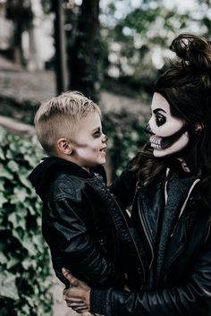 Mom and Mini Skeleton face makeup for halloween