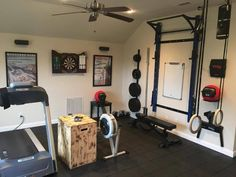 Game room turned workout room, featuring the PRx Performance Pro Rack.