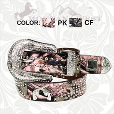 country western cowgirl belts   ... BELT Silver Rhinestone Sixshooter N Studded Camo Leather Western Belt