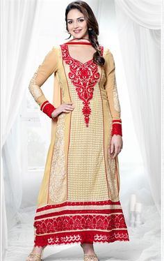 Picture of Beautiful Cream Color Bollywood Salwar Kameez
