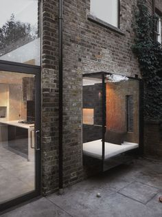 Oh my another brick example this time outside! Exterior brick facade with this amazing window seat. London Architecture, Architecture Details, Interior Architecture, Brick Architecture, Modern Interior, Interior Styling, Minimal Architecture, Architecture Images, Garden Architecture