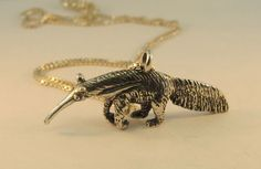 Silver Giant Anteater Charm Pendant by martymagic on Etsy, $90.00