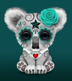 Teal Blue Day of the Dead Sugar Skull Baby Koala   Jeff Bartels