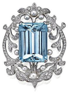 Aquamarine, Diamond & Pearl Brooch