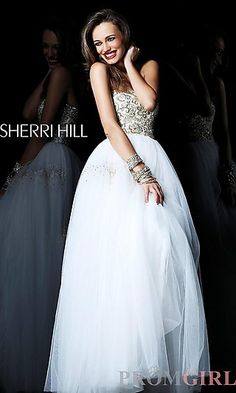 Long Embellished Strapless Formal Gown at PromGirl.com