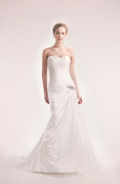 Bridal Gowns: Alita Graham A-Line Wedding Dress with Strapless Neckline and Asymmetric Waist Waistline