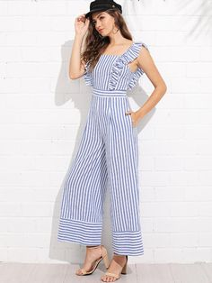 SheIn offers Ruffle Trim Wide Leg Striped Jumpsuit & more to fit your fashionable needs. Harem Pants Pattern, T Shirt Sewing Pattern, Pastel Color Dress, Dress Design Drawing, Designer Party Wear Dresses, Kurta Neck Design, Dress Neck Designs, Gowns For Girls, Striped Jumpsuit