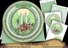 Candle Duo Happy Christmas 8in Round Ruffle Mini Card Kit on Craftsuprint - Add To Basket!