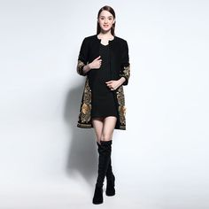 High-end Fashion 2017Thickness Of Winter Clothes Woolen Cloth Embroidered Coat Noble Gold Thread Embroidered Wool Coat #Affiliate