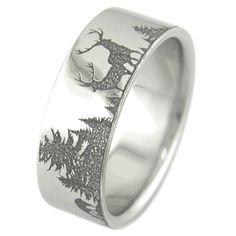 Ultimate Deer Hunting Ring, Hunting Scene Rings - Titanium-Buzz.com