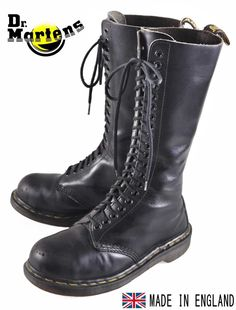 (I have 3 pairs of vintage docs, my favorite being my 20 hole black pair, and I consider it a important part of my cliche aesthetic. Dm Boots, Tall Boots, Combat Boots, Dr. Martens, Dr Martin Boots, Fashion Shoes, Mens Fashion, E Mc2, Steel Toe Boots