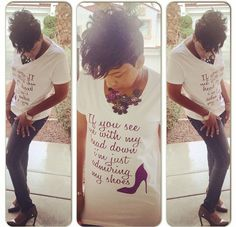 """If you see me with my head down I'm just admiring my shoes"" #eye4style #customizedtshirts #unisex #fashion"