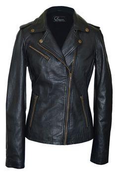 Faneema Women's Riva Moto Leather Jacket, Black