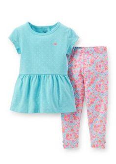 Carters  2-Piece Dot Tunic and Floral Legging Set Toddler Girls