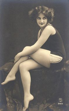 Vintage tinted bathing beauty postcard circa 1920's ~ found on bing.com