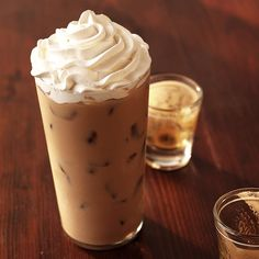 Try our signature espresso with white chocolate sauce, milk and ice, sweetened whipped cream
