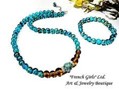 Crystal Blue Amber Color Lampwork Hand Painted Glass Beaded Set Bracelet Necklace, Turquoise Color Yellow Bohemian Chic Trending Jewellery