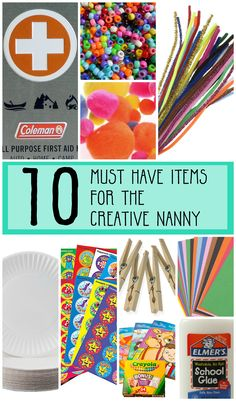 10 Must have Items for the creative nanny. Build your babysitting bag with these items. Crafty babysitters and nannies