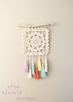 crochet granny square wall hanging by luz dary