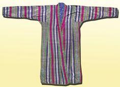 vintage long traditional uzbek silk striped robe chapan a8121