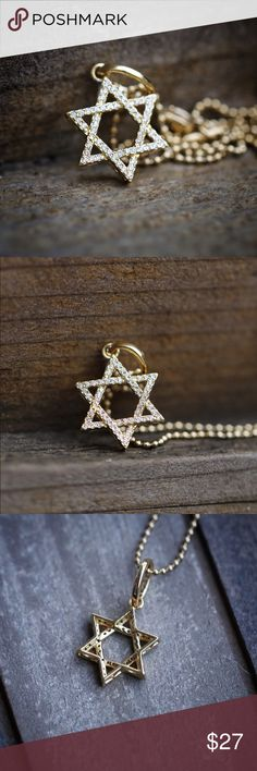 Gold Star Of David Jewish Kabbalah  Necklace Gold Star Of David Jewish Kabbalah Pendant Necklace  Mini gold Jewish star necklace.  Chain is 14k gold gold plated over 316 stainless steel.  Pendant size is 20mm in length (small).  Comes 1.5 mm width 18,20,22,24,26 or 30 inch length 14k gold plated 316 stainless steel ball chain included. Ts Verniel Jewelry Necklaces
