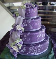 Purple Wedding Cake- love it without the crappy fondant draping on the side Purple Cakes, Purple Wedding Cakes, Beautiful Wedding Cakes, Gorgeous Cakes, Pretty Cakes, Amazing Cakes, Dream Wedding, Cake Wedding, Spring Wedding