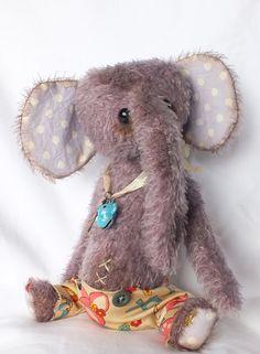 CUTE Baby Elephant - Purple Mohair Artist Bear - Vintage Style Antique Teddy - BUBBLEGUM. £46.00, via Etsy.