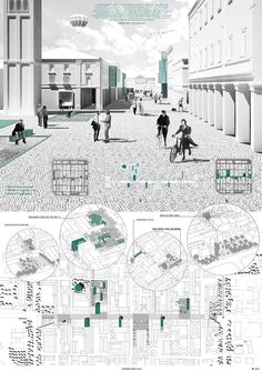 arch drawings -- Monochrome rendering + layout / Winners of the YAC – Post Quake Visions Competition Perspective Architecture, Plans Architecture, Architecture Panel, Architecture Graphics, Architecture Visualization, Architecture Drawings, Amazing Architecture, Landscape Architecture, Landscape Design
