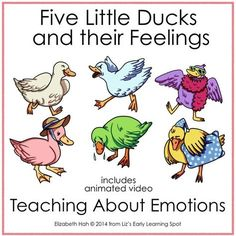 Get kids talking about their feelings by singing along with Five Little Ducks and their Feelings. They& stomp, cry, run, dance and drag their feet as they go. Feelings Preschool, Feelings Games, Feelings Activities, Feelings And Emotions, Preschool Activities, Therapy Activities, Preschool Behavior, Teaching Emotions, Therapy Worksheets