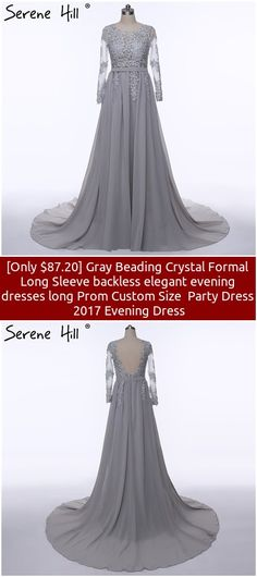 [Only $87.20] Gray Beading Crystal Formal Long Sleeve backless elegant evening dresses long Prom Custom Size  Party Dress  2017 Evening Dress