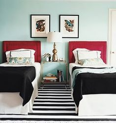 Teal and red twin beds