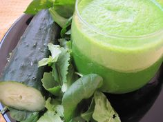My Green Smoothie Recipe Beverages with water, lemon, ginger, cucumber, fresh parsley, spinach, kale, bananas, ice