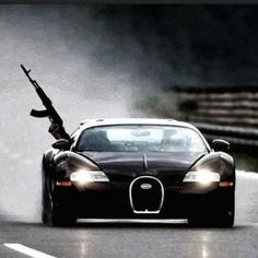 Ak + a Bugatti Veyron.aside from the awesomeness of driving a 2 million dollar car while having a rifle out the window what else is their to say about that. Mafia, Bugatti Veyron 2015, Honda Sports Car, Paper Car, Epic Photos, Super Sport Cars, Top Cars, Album, Fast Cars