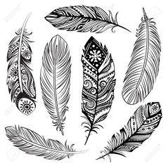 Isolé Ensemble De Plumes Noires Ethniques Tribales Clip Art Libres De Droits , Vecteurs Et Illustration. Pic 25633723.