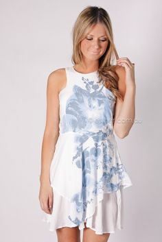 the story of orchid dress - white/blue