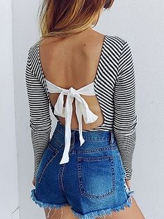 Shop Black Stripe Tie Back Backless Long Sleeve Ribbed Bodysuit from choies.com .Free shipping Worldwide.$16.99