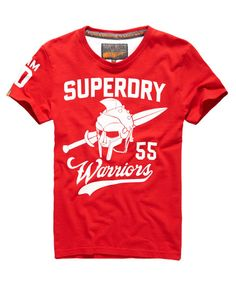 Shop Superdry Mens Team Warriors T-shirt in Rich Scarlet. Buy now with free delivery from the Official Superdry Store. Superdry Tshirts, Superdry Mens, Superdry Style, High Fashion Men, Warriors T Shirt, Moda Casual, Little Designs, Swagg, Shirt Style