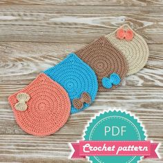 15 Ideas crochet cat coasters products for 2019 Crochet Coaster Pattern, Crochet Chart, Crochet Patterns, Doily Patterns, Dress Patterns, Crochet Home, Cute Crochet, Easy Crochet, Crochet Socks